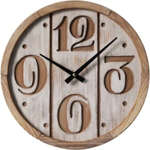 Clock French Country Vintage Wall Scandi Wood Paneling White 35cm New