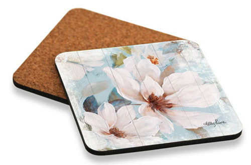 Kitchen Cork Backed Placemats AND Coasters Magnolia Floral Set 6 NEW