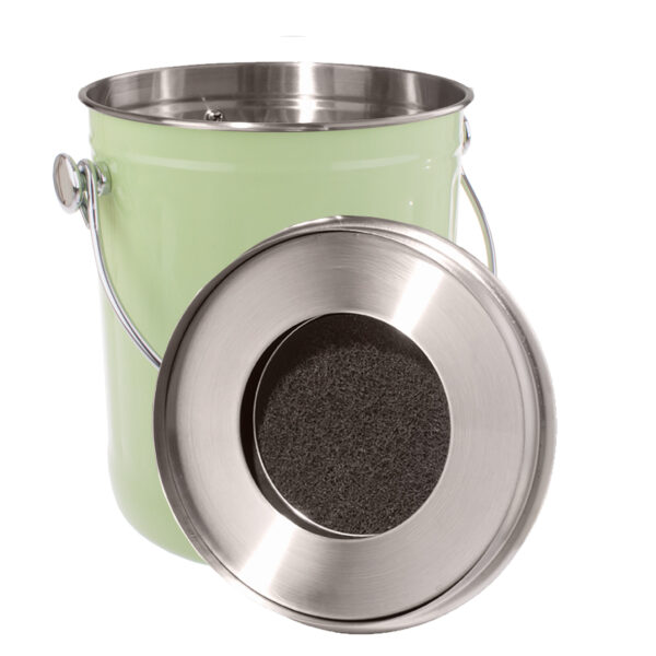 Enamel Retro Kitchen Scraps Compost Bucket with Charcoal Filter White New