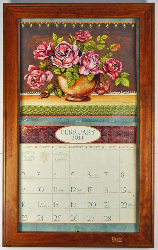 2019 Lang / Legacy Calendar Frame Wooden Mahogany Display your Calender New