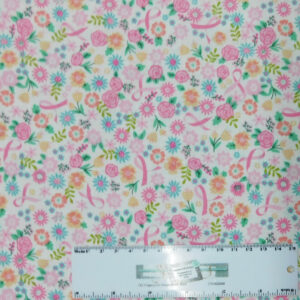 Patchwork Quilting Sewing Fabric Pink Cancer Ribbon Flowers 50x55cm FQ New
