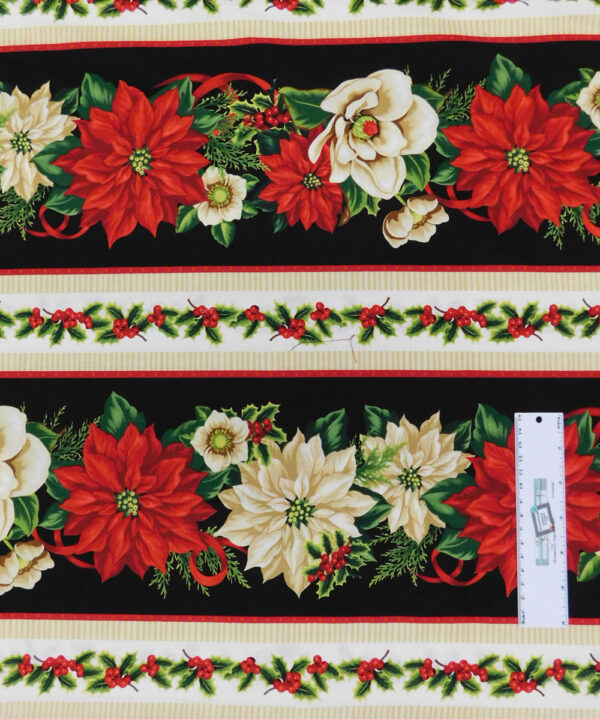 Patchwork Quilting Sewing Fabric Holiday Lane Poinsettia Border 50x55cm FQ New