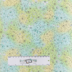 Patchwork Quilting Sewing Fabric Blue Green Floral Allover 50x55cm FQ New