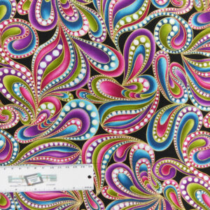 Patchwork Quilting Sewing Fabric Catitude Metallic Swirls 50x55cm FQ New