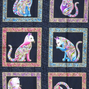 Patchwork Quilting Sewing Fabric Catitude Metallic Bright Panel 60x110cm New Material