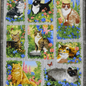 Patchwork Quilting Sewing Fabric Cats & Kittens Furr Friends Panel 90x110cm New