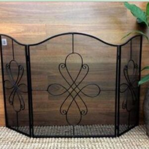 French Country Vintage Inspired Wrought Iron Black Fire Screen Foldable and Portable New