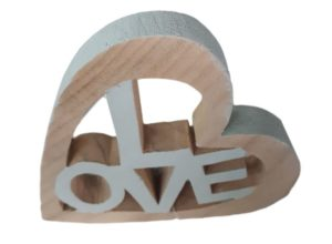 French Country Love Ornament Timber Cutout Wooden New