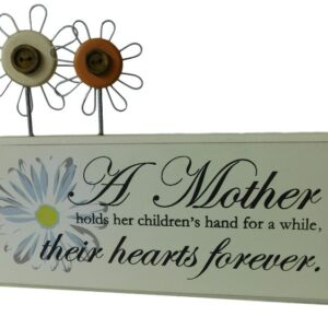 French Country Mother Hearts Forever Wooden Sign Ornament Timber with Wire Flowers New