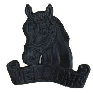 French Country Vintage Inspired Wall Art Wrought Iron Horse Welcome New