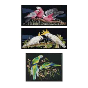 Country Threads Cross Stitch BIRDS ON BLACK Pattern New X Stitch FJP-1054-61-63 (CT)