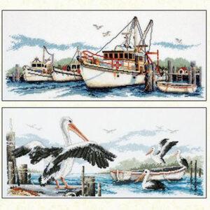 Country Threads Cross Stitch FISHING TRAWLERS & PELICANS Pattern New X Stitch FJP-1005-15 (CT)