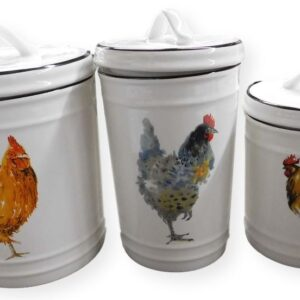 French Country Kitchen Canisters ROOSTERS CHICKENS with Seals Set of 3 China New