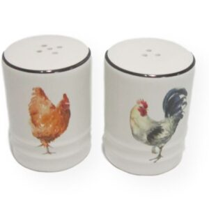 French Country Collectable Novelty Magnetic Rooster Chicken Salt and Pepper Set New