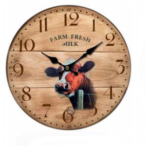 Clock Country Vintage Inspired Wall Clocks 34CM FARM FRESH MILK COW New