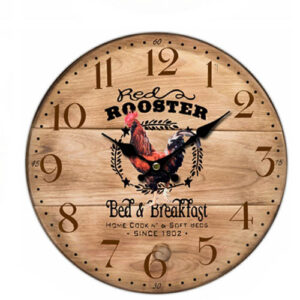 Clock Country Vintage Inspired Wall Clocks 34CM RED ROOSTER B & B New