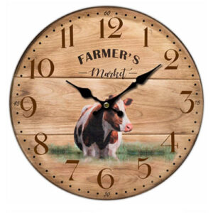 Clock Country Vintage Inspired Wall Clocks 34CM FARMERS MARKET COW New