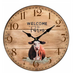 Clock Country Vintage Inspired Wall Clocks 34CM WELCOME TO THE FARM COW New