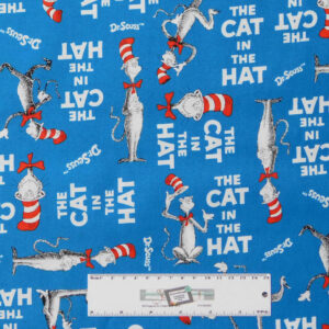 Quilting Patchwork Sewing Fabric THE CAT IN THE HAT DR SEUSS 50x55cm FQ New