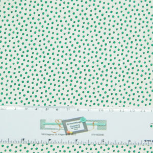 Patchwork Quilting Sewing Fabric GREEN ON WHITE SPOTS 50x55cm FQ New