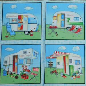 Patchwork Quilting Sewing Fabric HAPPY CAMPER CARAVAN Panel 44X110cm New