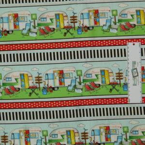 Patchwork Quilting Sewing Fabric HAPPY CAMPER CARAVAN BORDER 50x55cm FQ New