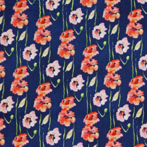Patchwork Quilting Sewing Fabric POPPIES ON NAVY 50x55cm FQ New Material