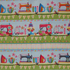 Patchwork Quilting Sewing Fabric SEWING MACHINES BORDER 50x55cm FQ New