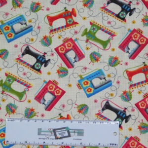 Patchwork Quilting Sewing Fabric SEWING MACHINES 50x55cm FQ New Material