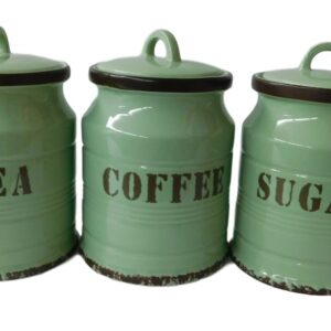 French Country Kitchen Canisters GREEN TEA, COFFEE, SUGAR with Seals Set of 3 China New