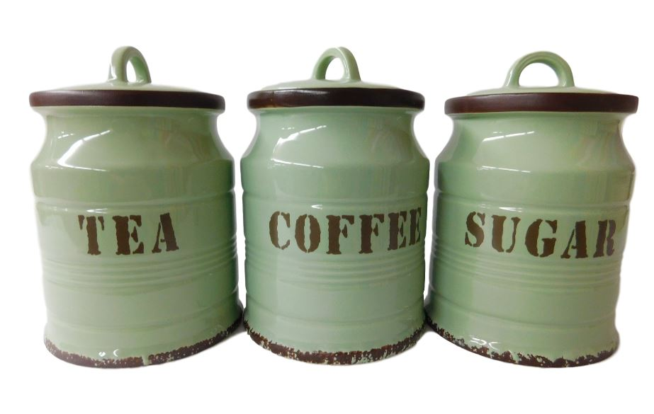 French Country Kitchen Canisters GREEN TEA, COFFEE, SUGAR ...