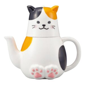 Collectable Novelty Kitchen Teapot Calico Cat Tea For One China Cup & Tea Pot New