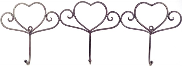 French Country Vintage Inspired Wall Art 3 HEART HOOKS Wrought Iron Keys Hats NEW