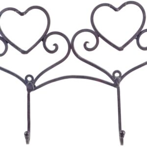 French Country Vintage Wall Art 2 HEART HOOKS Wrought Iron Keys Hats Rust NEW
