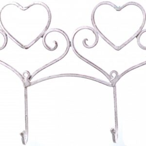 French Country Vintage Wall Art 2 HEART HOOKS Cream Wrought Iron Keys Hats NEW