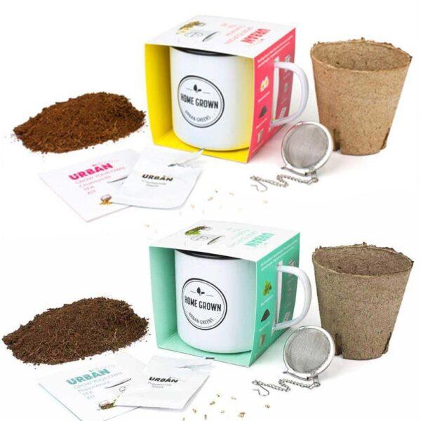 Country Inspired Organic GROW YOUR OWN HERBAL TEA Kit in Enamel Reuseable Mug New