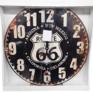 Clock Country Vintage Inspired Wall Metal Enamel Clocks 39CM ROUTE 66 New