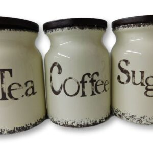 French Country Kitchen Canisters Wooden Lid TEA, COFFEE, SUGAR with Seals Set of 3 China New