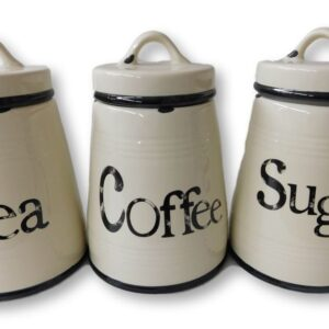 French Country Kitchen Canisters Rustic TEA, COFFEE, SUGAR with Seals Set of 3 China New