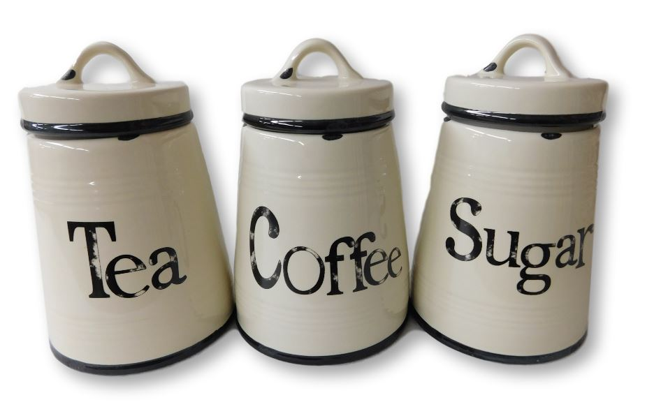 French Country Kitchen Canisters Rustic Tea Coffee Sugar With