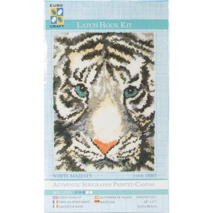 Crafting Kit New Latch Hook with Canvas and Precut Threads WHITE TIGER New