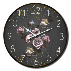 Clock Country Vintage Inspired Wall Blue MIDNIGHT FLORAL Flowers Clock 34cm New