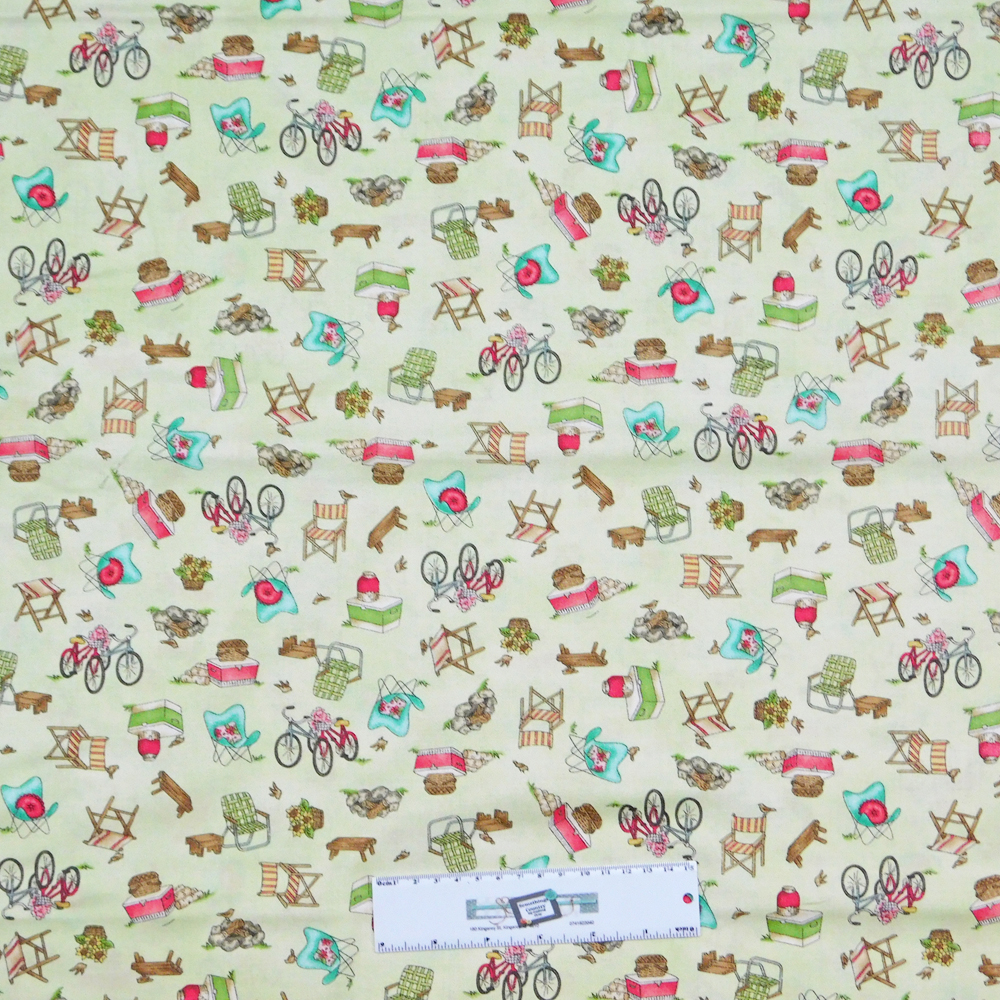 Fabric Freedom Camping 100/% Cotton Fabric FQ Crafting Quilting Patchwork Green