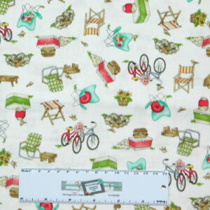 Patchwork Quilting Sewing Fabric ROAM SWEET HOME WHITE CAMPING 50x55cm FQ New