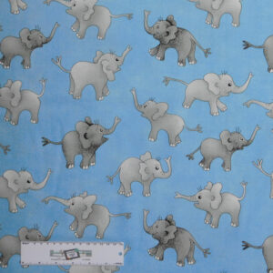 Patchwork Quilting Sewing Fabric BLUE ELEPHANTS DUMBO 50x55cm FQ New