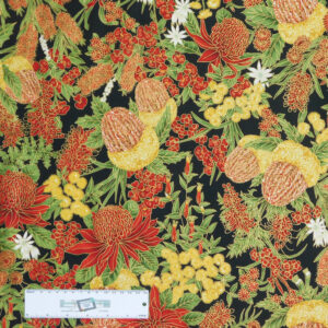 Patchwork Quilting Sewing Fabric UNDER AUSSIE SUN FLORAL 50x55cm FQ New