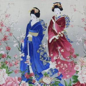 Patchwork Quilting Sewing Fabric SAKURA JAPANESE GEISHA Panel 60x110cm New