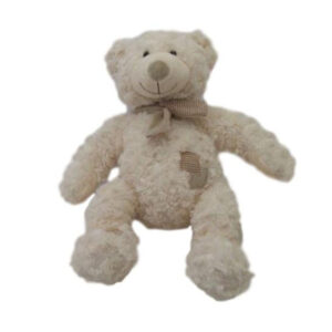 Cuddly Plush Teddy Bear Silky White with Brown Patches and Scarf 35cm New