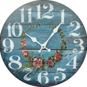 Clocks Country Vintage Inspired Wall Hanging BLUE FLORAL ROSES Clock 34cm New