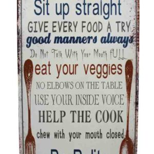 Country Tin Sign Vintage Inspired Wall Art KITCHEN RULES Retro Plaque New